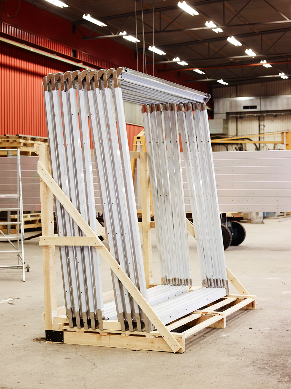 Rear frames ready for delivery in NMV Luleå's workshop.